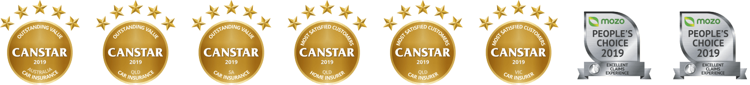 Thanks to the experts at Canstar who recognised us as a winner for Outstanding Value Car Insurance nationally, and in Queensland and South Australia. We also won for Most Satisfied Customers for Car and Home Insurance in Queensland, and for Car Insurance in Victoria.